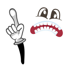 Horror smiley face with pointing gesture vector