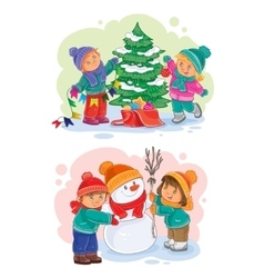 Icons small children decorate christmas tree vector