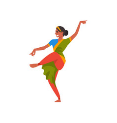 indian dancer character in green traditional vector image