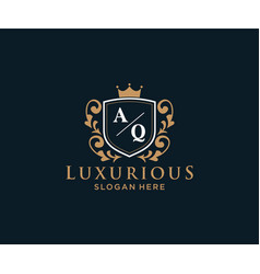 Initial aq letter royal luxury logo template vector