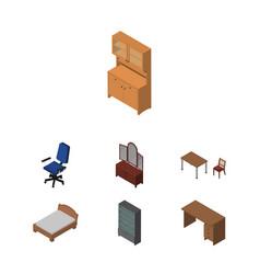 Isometric design set of cupboard office vector