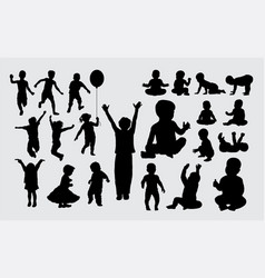 Kid and baby playing silhouettes vector