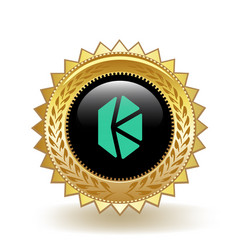 Kyber network cryptocurrency coin gold badge vector