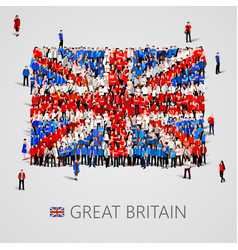 large group of people in the great britain flag vector image