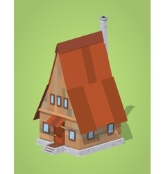 Low poly A-Frame wooden house vector image