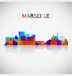 marseille skyline silhouette in colorful vector image