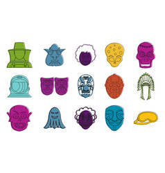 mask icon set color outline style vector image