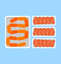Meat steaks fresh organic products in plastic tray vector