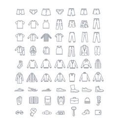 Men clothes shoes accessories simple line icons vector