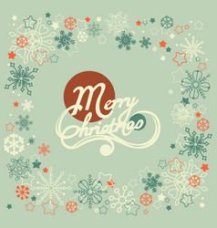 merry christmas text snowflakes frame vector image