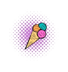 Mixed ice cream scoops in cone comics icon vector