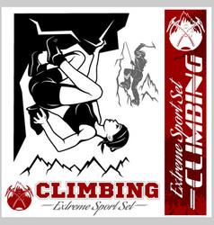 mountain climbing and logos emblems vector image