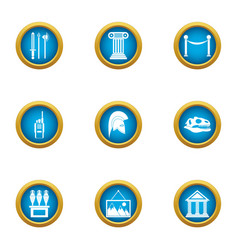 Museum of antiquities icons set flat style vector