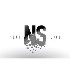 Ns n s pixel letter logo with digital shattered vector