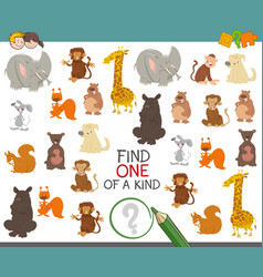 One of a kind game with animals vector