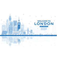 outline welcome to london england skyline vector image