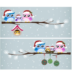 owl christmas celebration design vector image
