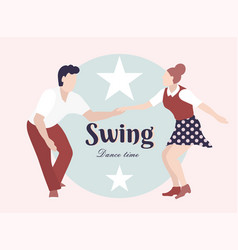 Party swing young couple dancing swing rock or vector