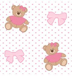 pattern bear ribbon vector image
