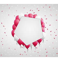 Pentagon badge and red balloons vector
