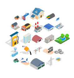 project icons set isometric style vector image