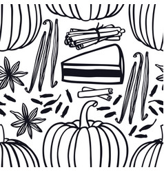 pumpkins cinnamon vanilla seamless pattern vector image