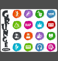 rap music icons set vector image