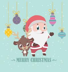 reindeer and santa christmas greeting vector image
