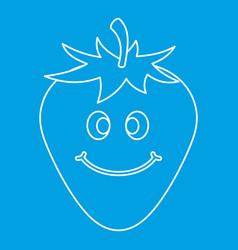 Ripe smiling strawberry icon outline vector