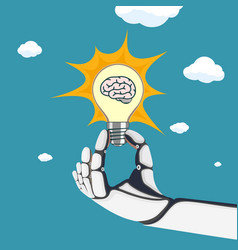 robot hand holds a light bulb with a human brain vector image