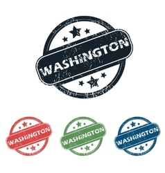Round Washington city stamp set vector image