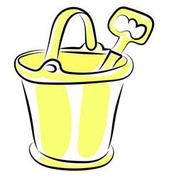 sand bucket and shovel on white background vector image