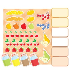 scrapbook elements with fruits and jam vector image