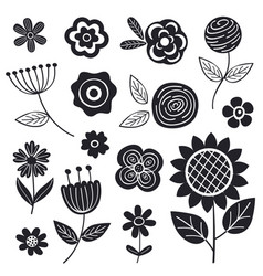 set isolated black flowers part 1 vector image