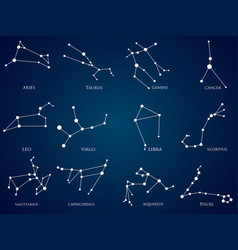 set of zodiac constellations vector image