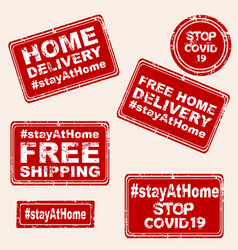 Set rubber stamps with stay at home and free vector