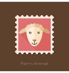 Sheep flat stamp Animal head vector