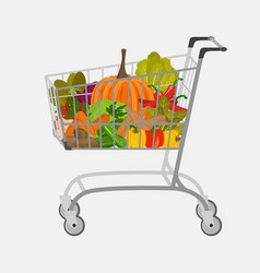 Shopping cart with different goods such as fruits vector