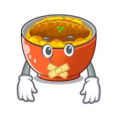 silent katsudon is served on mascot plate vector image