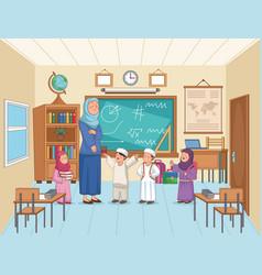 Teacher with students vector
