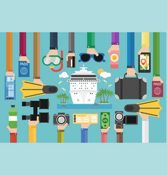 Time to travel cruise flat design vector