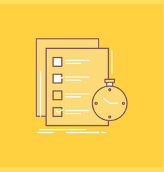 Todo task list check time flat line filled icon vector