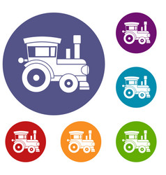 toy train icons set vector image