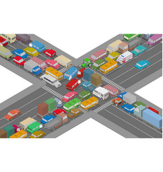 traffic jam isometric cars and houses vector image