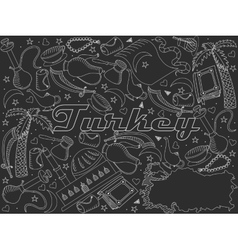 Turkey line art design chalky vector image