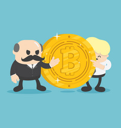Two businessmen who are offering bitcoin coins vector