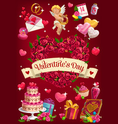 Valentines day gifts cupid flowers and balloon vector