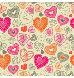 Vintage Doodle Love Pattern vector image