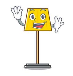 Waving floor lamp character cartoon vector