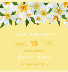 Wedding invitation template with plumeria flowers vector